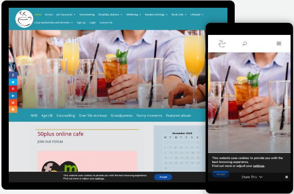 50plus Online Café website screenshots