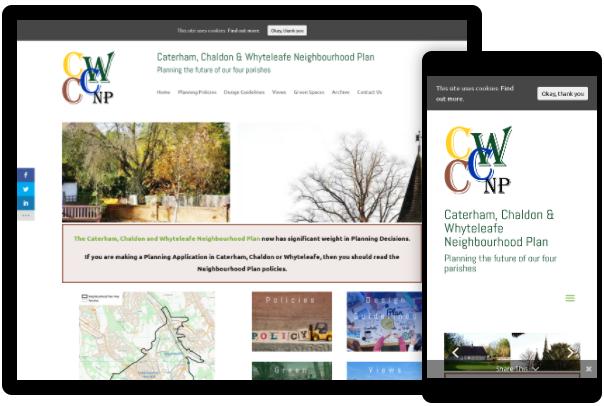 Screenshots of Caterham Chaldon and Whyteleafe neighbourhood plan website